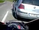 Motorrad Unfallverhütung: Vorfahrt genommen -Top Reaktion, geil gebremst + Schutzengel!