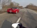 Treffen auf der Autobahn: Ferrari 430, Maserati Gt und Honda CBR 600RR