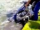 Motorrad Crash: Cool am Gas, Bremsen ? Notwasserung - abgesoffen