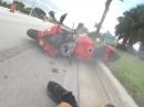 Wheelie Crash - leicht überzogen, abgeflogen, Schürfing