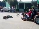 Wheelie gezogen, Gabel gebrochen = Schrott!