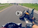 Wheelie überzogen, abgeflogen. Crash beim Ride of the Century 2015