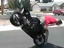 Wheelie und Crash - nicht gut für die Nüsse und die Show: üben, üben, üben...