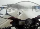 Wintertour: Spitzingsee bei a bissal Schneefall Honda CBR600F