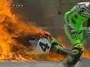 WSBK 1998 Monza (Italien) Race 1 Akira Yanagawa Crash and Fire