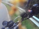 Yamaha MT-03 Crash, Bitumen, Hinterrad ausgebrochen, Leitplanke