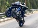 Yamaha Niken wheelisiert vom Feinsten: Zwei Räder hoch sind auch ein Wheelie ;-)