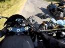 Yamaha R1 vs. Harley - unbeabsichtigt gerammt und abgedrängt - Crash riskiert