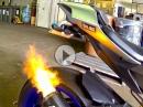 Yamaha R1M mit SC Project CRT Auspuffanlage - Flammenwerfer