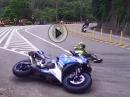 Yamaha R3 Crash: Lowsider, Fahrer ok, R3 reichlich Blessuren