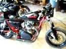 Yamaha XS650 Cafe racer Rev in shop straight pipe
